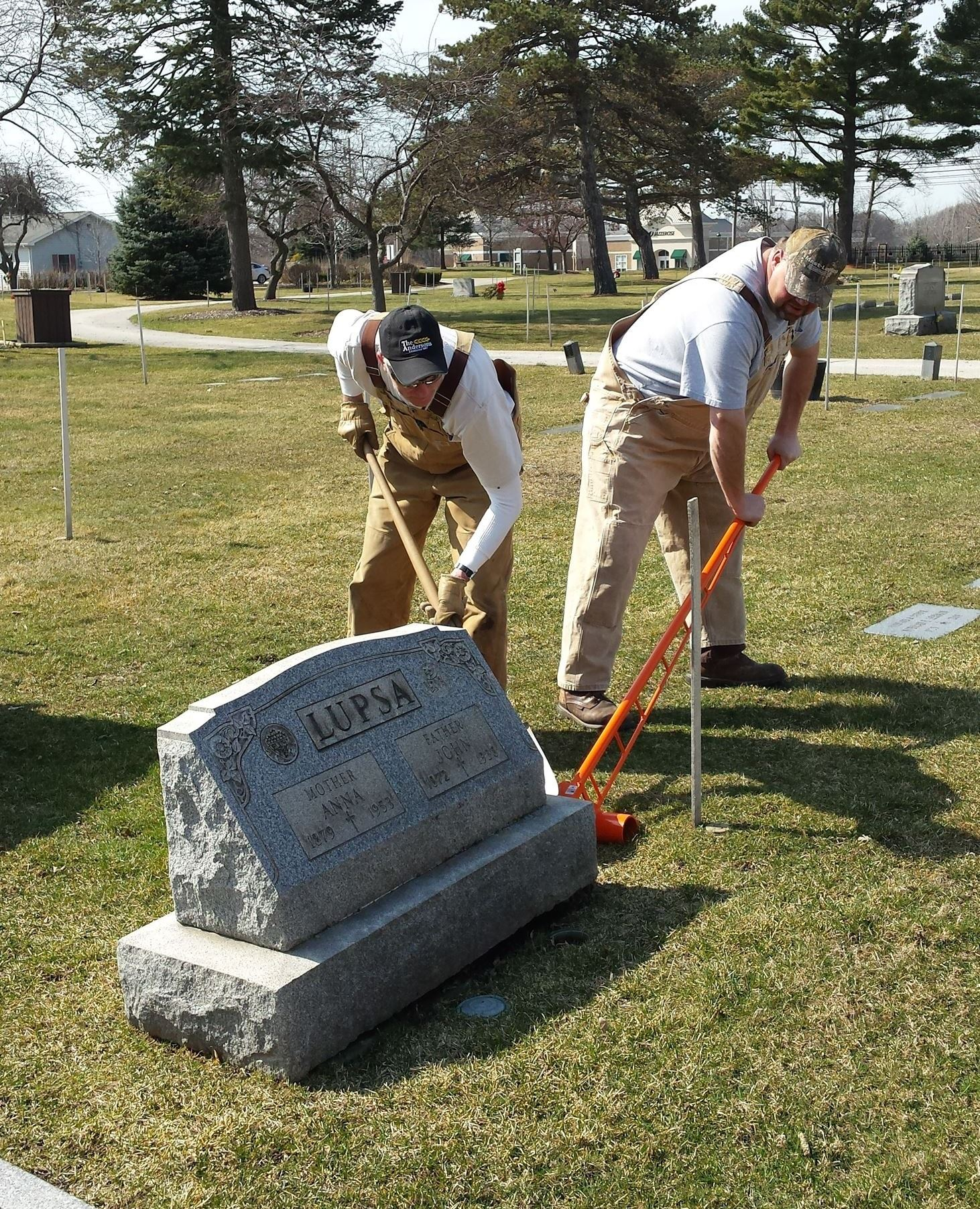 Leveling a Headstone