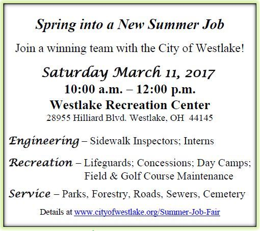 2017 City of Westlake OH Summer Job Fair Details