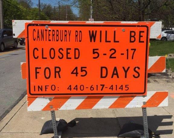 Sign - Canterbury Road Closure 2017