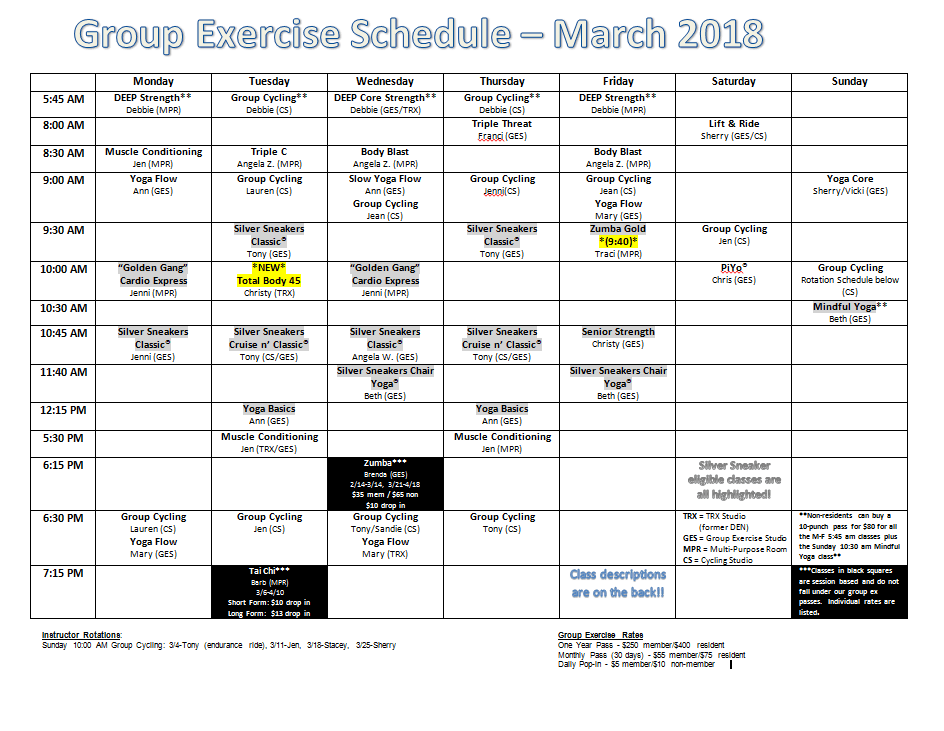 March Group Fitness Calendar