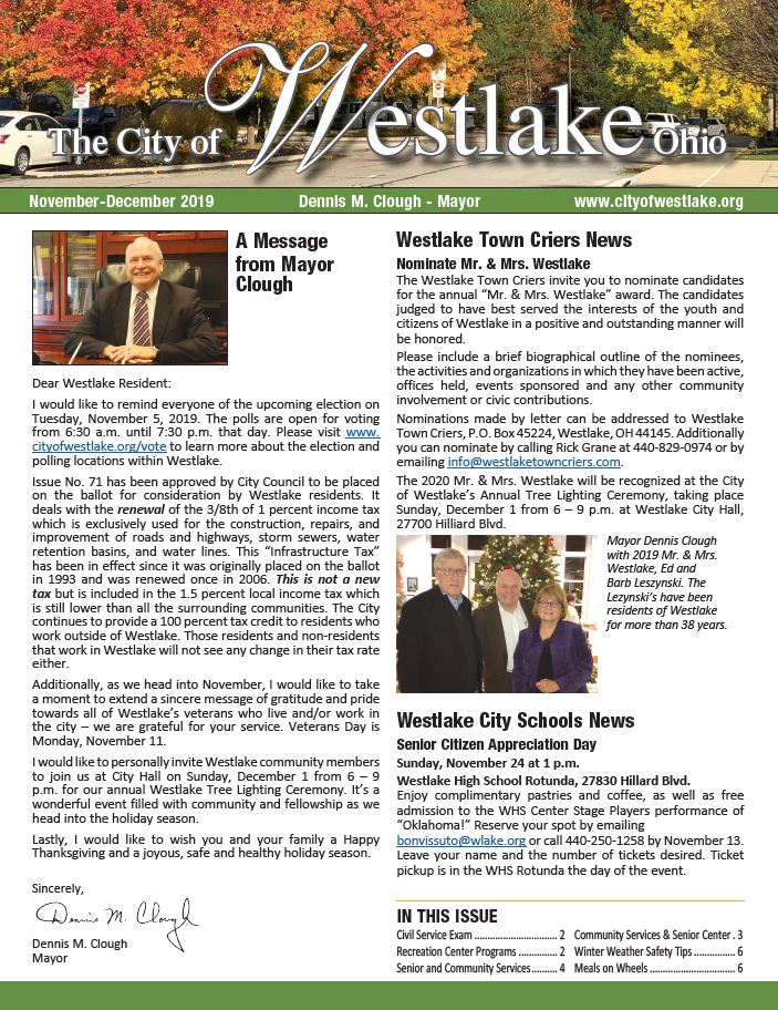 MayorsNewsletter Cover NovDec 2019