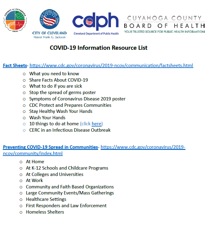 Click for COVID-19 Resource List provided by Cuyahoga County