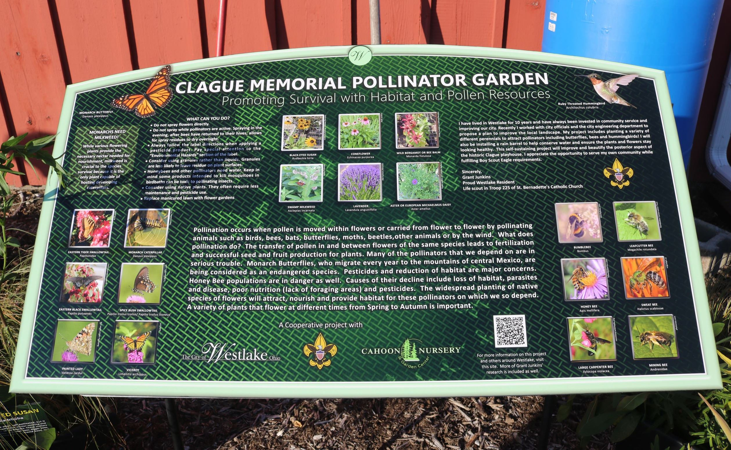 Clague Playhouse Pollinator Garden sign