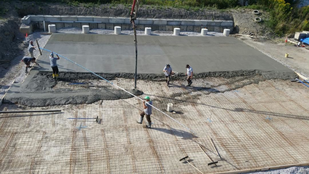 Covered storage concrete pour